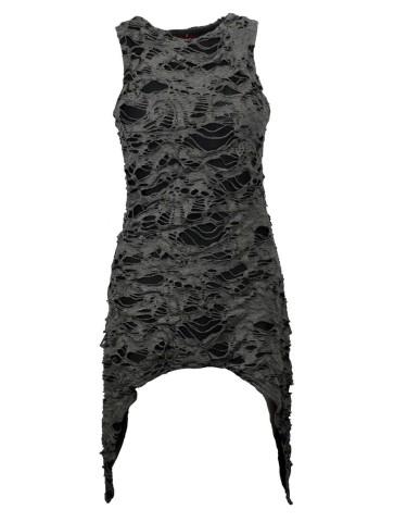 Graues Gothic Fetzen Kleid Ärmellos