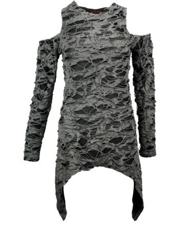 Graues Gothic Fetzen Kleid Mit Ärmel