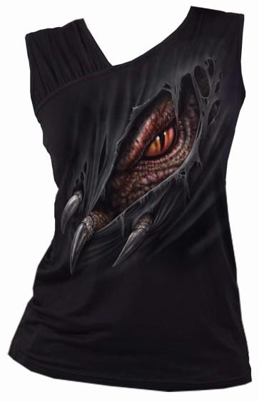BREAKING OUT - Gathered Shoulder Slant Vest Black