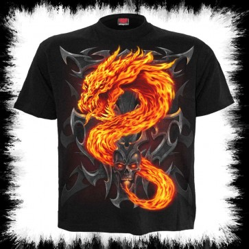 Fire Dragon T Shirt Schwarz