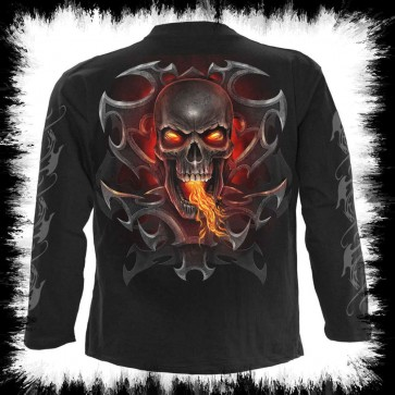Goth Rock Longsleeve Feuer Drachen