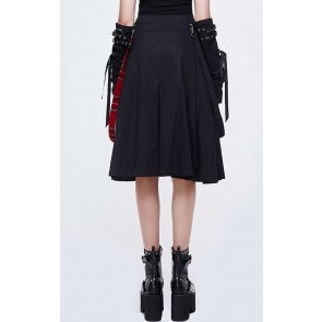 Devil Fashion - asymmetrischer Gothic Tartan Frauen Rock