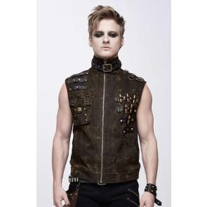 Devil Fashion Braune Gothic Männer Weste