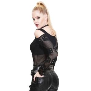 Gothic Damen Shirt Mit Netz Ärmeln Und Ringen