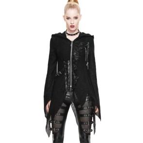 Gothic Damen Strickmantel Asymetrisch Mit Kapuze
