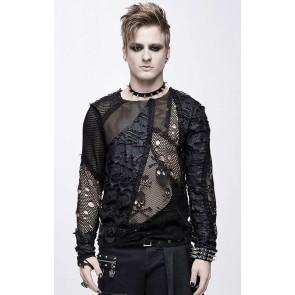 Devil Fashion - Gothic Fetzen Netz Skull Longsleeve.