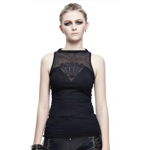 Gothic Frauen Tanktop Kreuze Auf Netzstoff