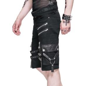 Gothic Herren Shorts Mit Riemen Und Reißverschlüssen