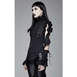 Devil Fashion - Schwarze Gothic Damen Bluse.
