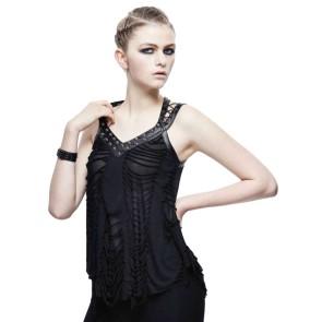 Zweilagiges Gothic Damen Top Fetzen Look