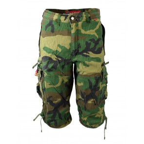 three quarter shorts green camouflage molecule