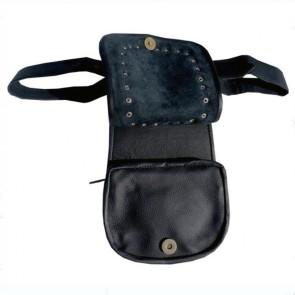 Schwarze Leder Look Kilt Tasche