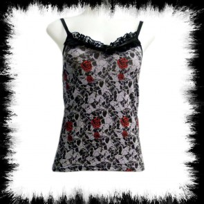 Girly Top Skull And Roses Hell Grau