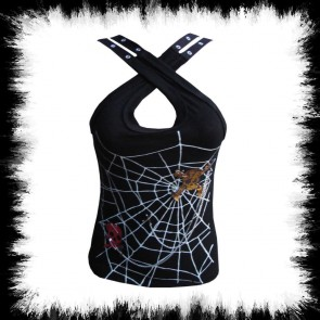Gothic Damen Top Spiderweb Skull