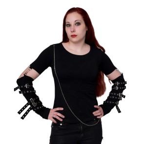 Gothic Frauen Longsleeve Mit Riemchen Armstulpen