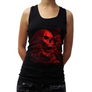 Gothic Frauen Tanktop Smoky Red Vamp Skull