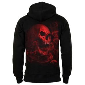 Gothic Hoodie Smoky Red Vamp Skull