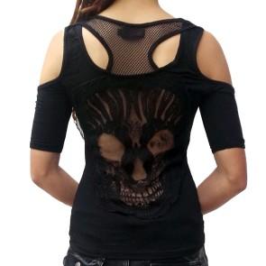 Gothic Shirt Rückenfrei Netz Skull