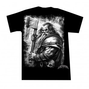 Gothic T Shirt Krieger Zwerg Grau