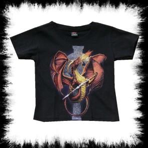 Kinder T Shirt Feuer Drache Vor Kelten Kreuz