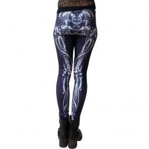 Leggings Schwarz Skelett