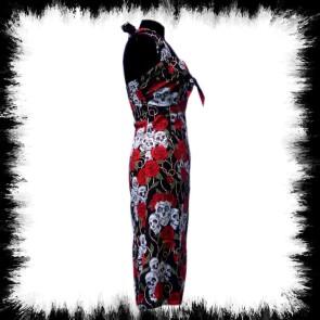 Neckholder Kleid Skull And Roses Schwarz