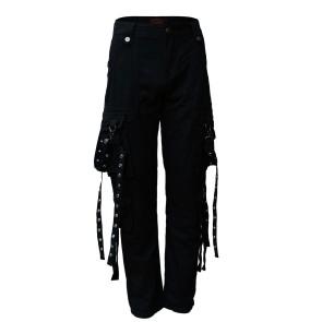 Schwarze Gothic Hosen Männer Lang