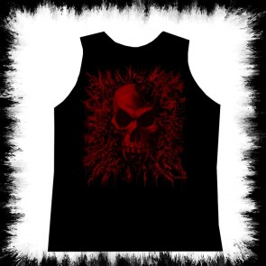 Schwarzes Herren Tank Top Roter Vampir Schädel