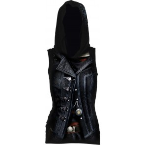 ASSASSINS CREED SYNDICATE EVIE - ALLOVER LICENSED ÄRMELLOSES DAMEN TOP SCHWARZ