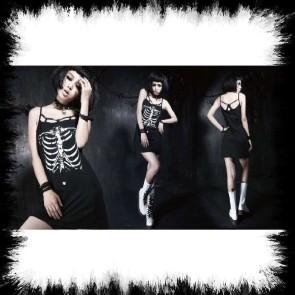 Punk Rave Leichtes Metal Kleid Mit Skelett Aufdruck