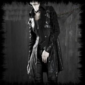 Punk Rave Mantel Black Mit Schnürung Für Frauen
