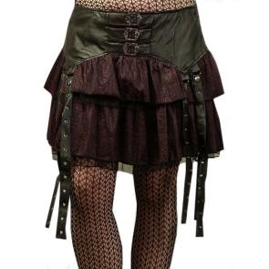Lolita Stufen Rock Leder Look