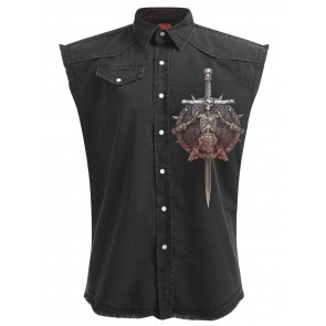 Apocalypse - Extra Grosses Sleeveless Stone Washed Workershirt Schwarz