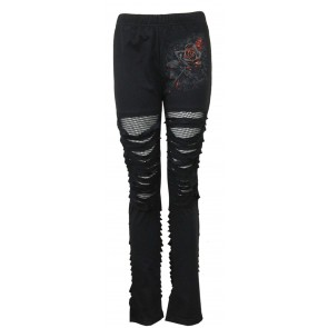 Burnt Rose -gothic Leggings Mit Netz
