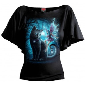 CAT AND FAIRY - Boat Neck Bat Sleeve Top Black