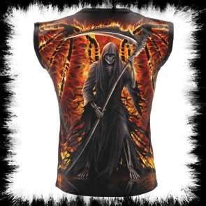 Flaming Death Allover Sleeveless T Shirt Schwarz