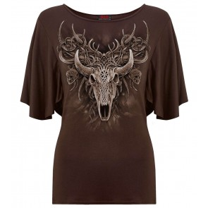 Horned Spirit – Plus Size Gothique Frauen T-Shirt Braun