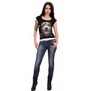 MISTY EYES - 2IN1 DAMEN TOP SCHWARZ WEISS