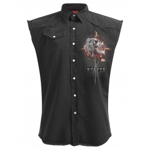 Never Too Loud - Sleeveless Stone Washed Workershirt Schwarz