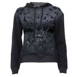 Nightshift-Distressed Spray On Damen Hoodie.