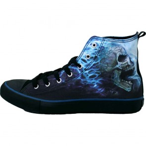 Sneakers Turnschuhe Gothic Flamming Skull