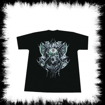 T Shirt Tribal Skull Ax Glow