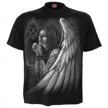 Gothic T Shirt Angel Wing Cross