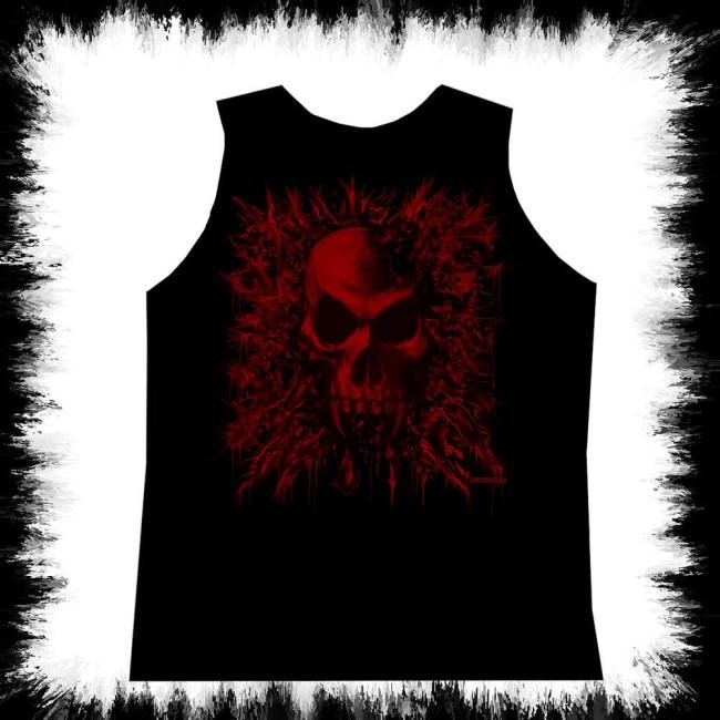 fc730dcdf44db Black Mens Tank Top Red Vampire Skull · Zoom · Schwarzes Herren Tank Top  Roter Vampir Schädel