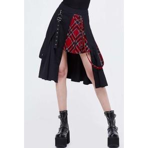 Devil Fashion - Asymmetric Gothic Tartan Women's Skirt