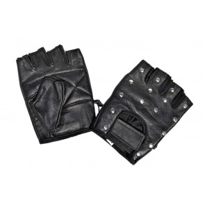 Fingerless Biker Leather Gloves