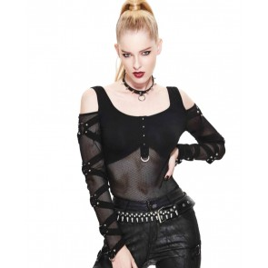 Gothic Ladies Shirt With Mesh Sleeves And Rings
