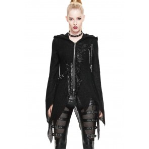Gothic Ladies Knit Coat Asymmetric With Hood