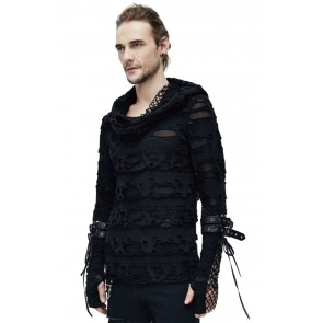 Gothic Men's Shredded Hoodie Black