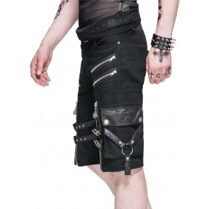 Gothic Men's Shorts With Straps And Zippers